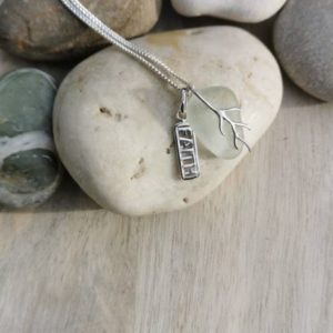 Seaglass pendant necklace, faith charm silver necklace, beach glass jewellery, Silver sea glass pendant, made in London, made in Britain, Christmas gift for her, birthday gift, blue marble jewellery
