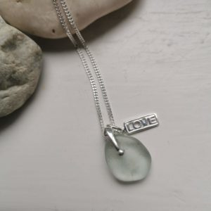 Seaglass pendant necklace, love charm silver necklace, beach glass jewellery, Silver sea glass pendant, made in London, made in Britain, Christmas gift for her, birthday gift, blue marble jewellery