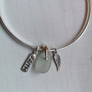 Handmade silver charm bracelet, Sterling silver handmade bangle, faith charm silver bracelet, angel wing bangle, seaglass silver bangle, made in London, made in Britain, Christmas gift for her, birthday gift, blue marble jewellery