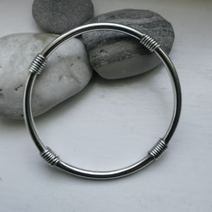 Sterling silver handmade bangle, Grecian silver bangle, chunky silver bracelet, textured sterling silver bracelet, made in London, made in Britain, Christmas gift for her, birthday gift, blue marble jewellery