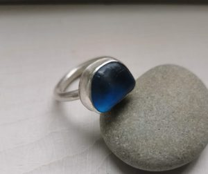 blue seaglass ring, chunky silver blue ring, chunky silver ring, blue ring