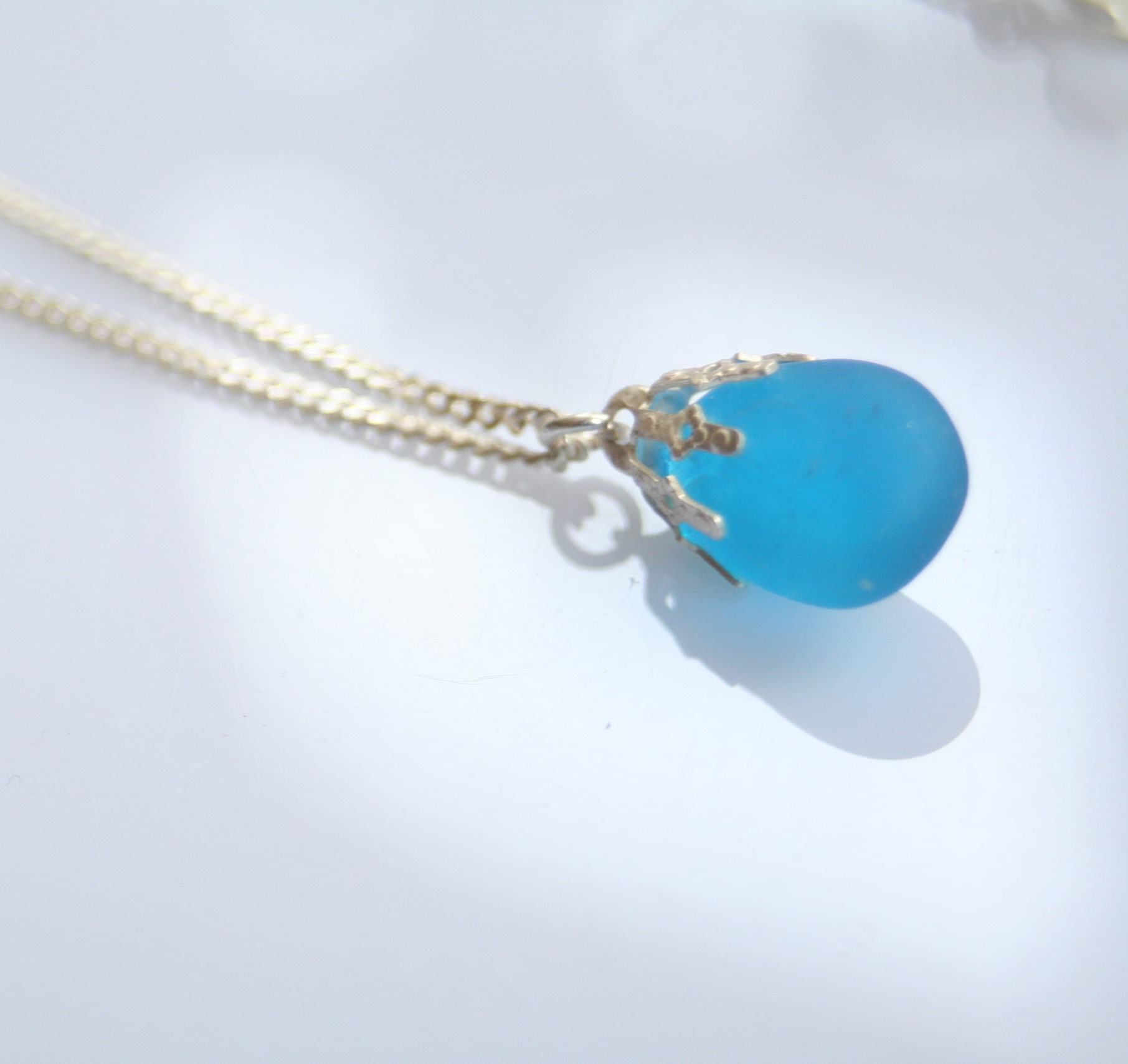Sterling Silver Necklace With Seaglass Pendant Blue Marble Shop
